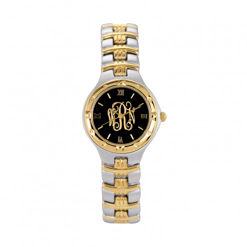 Two Toned Women€™s Script Letter Watch 26 mm Personalized Jewelry