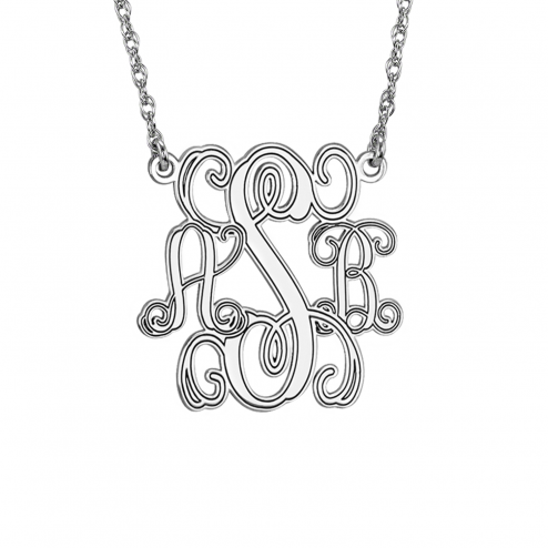 Traditional Monogram Personalized Necklace 25 mm Personalized Jewelry