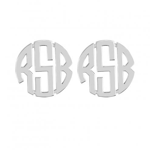 Block Monogram Stud Earrings 20 mm Personalized Jewelry
