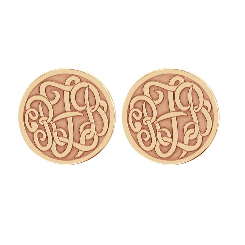 Classic Monogram Recessed Stud Earrings 20 mm Personalized Jewelry
