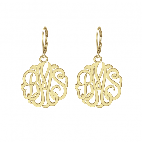 Classic Monogram Leverback Earrings 25 mm Personalized Jewelry