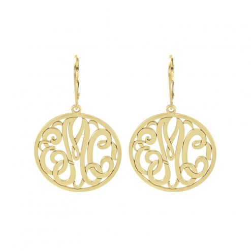Classic Bordered Monogram Leverback Earrings 25 mm Personalized Jewelry