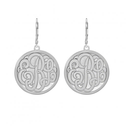 Classic Bordered Recessed Monogram Leverback Earrings 25 mm Personalized Jewelry