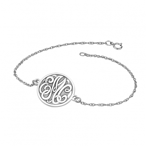 Classic Bordered Recessed Monogram Bracelet 20 mm Personalized Jewelry