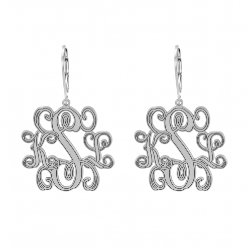 Traditional Monogram Leverback Earrings 25 mm Personalized Jewelry