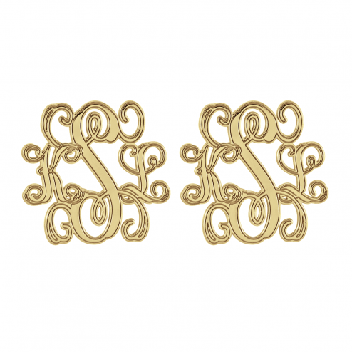 Traditional Monogram Stud Earrings 20 mm Personalized Jewelry