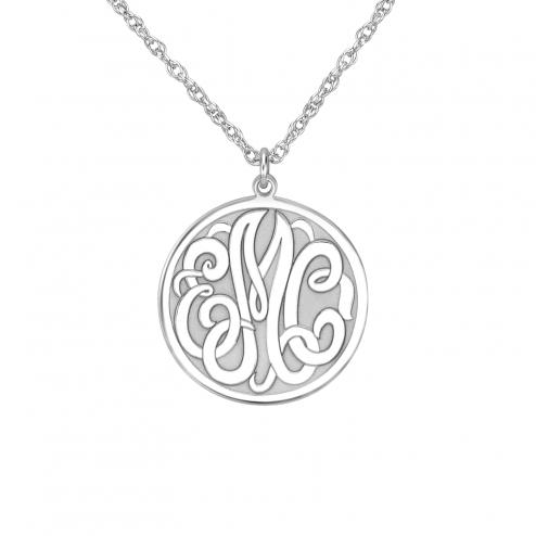 Classic Recessed Monogram Pendant 20 mm Personalized Jewelry
