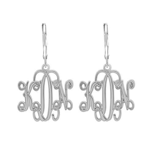 Traditional Monogram Leverback Earrings 20 mm Personalized Jewelry