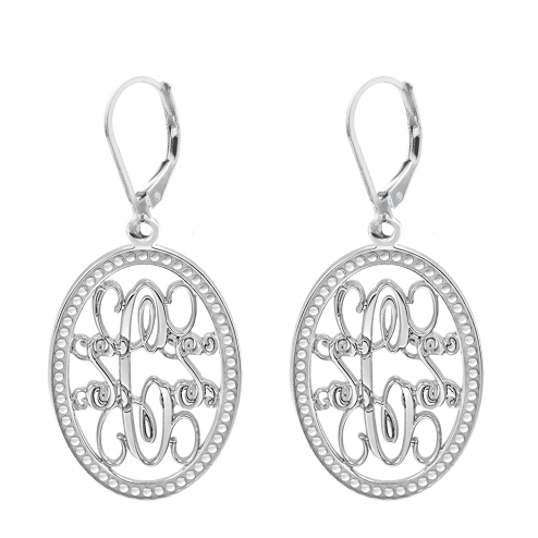 Traditional Oval Monogram Leverback Earrings 23 x 16 mm Personalized Jewelry