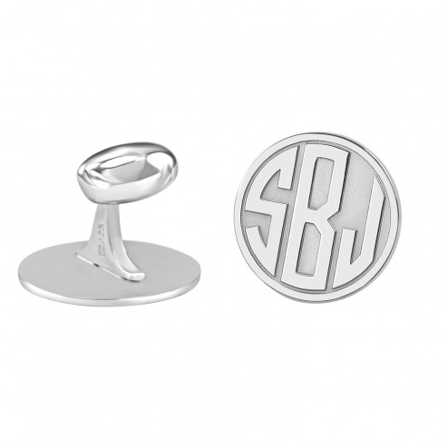 Sterling Silver Recessed Block Monogram Cufflinks (18mm)