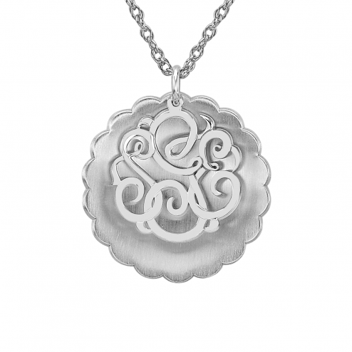 Two Piece Concave Monogram Pendant 30 mm Personalized Jewelry
