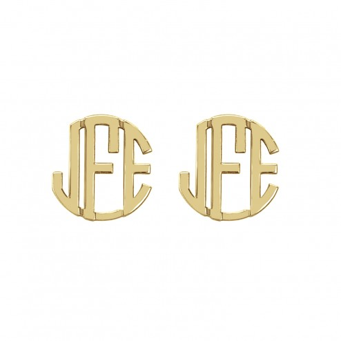 Block Monogram Stud Earrings 10 mm Personalized Jewelry