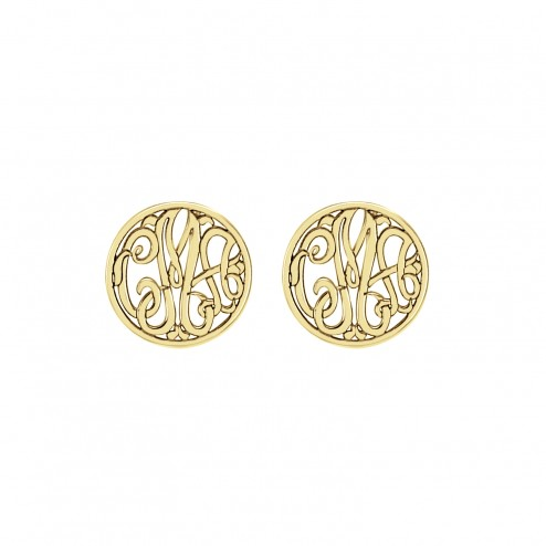 Classic Monogram Stud Earrings 10 mm Personalized Jewelry