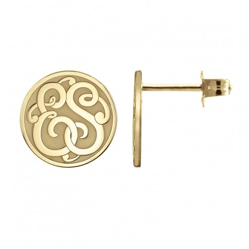 Classic Monogram Recessed Stud Earrings 10 mm Personalized Jewelry