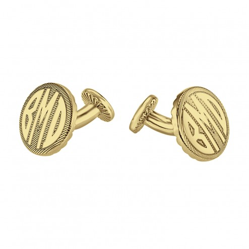 Round Original Monogram Cufflinks 18 mm 87987 Personalized Jewelry