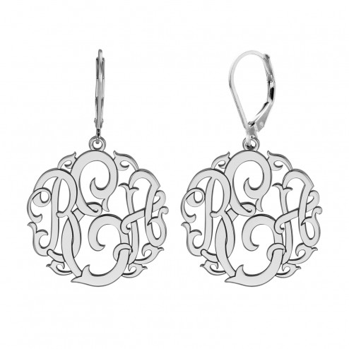 Classic Monogram Leverback Earrings 20 mm Personalized Jewelry