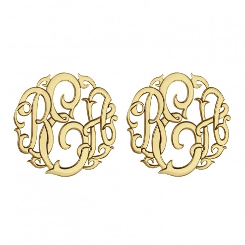 Classic Monogram Stud Earrings 20 mm 88088E Personalized Jewelry