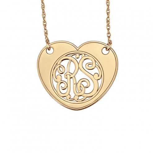 Heart Scripted Monogram Necklace 25 x 30 mm Personalized Jewelry