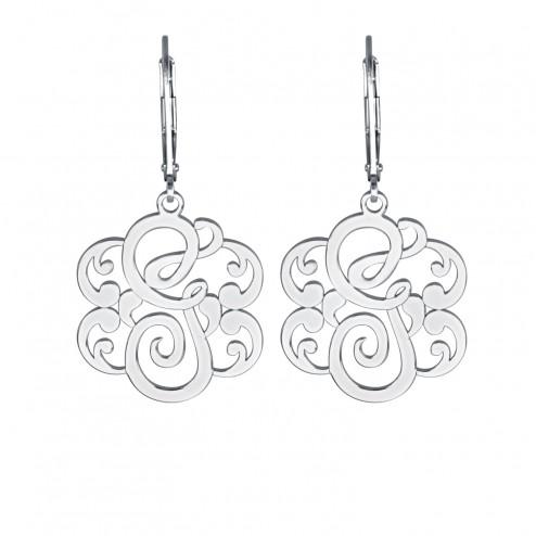 Single Initial Leverback Monogram Earrings 25 mm Personalized Jewelry