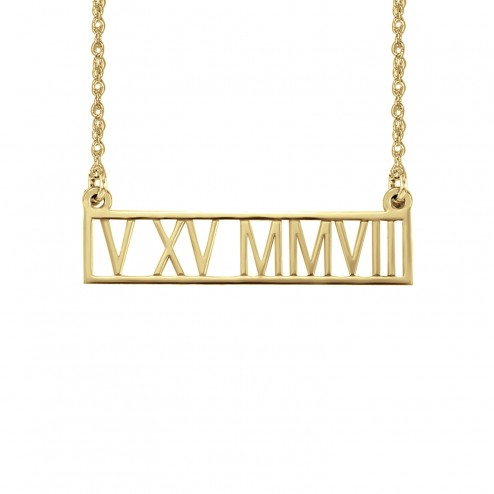 Roman Numeral Date Necklace 5x30mm