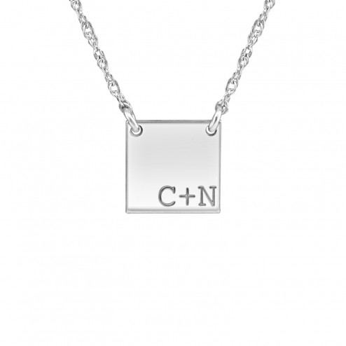 Couples Initial Square Necklace (12mm)