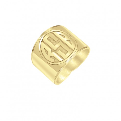 Recessed Block Initial Monogram Ring 18mm
