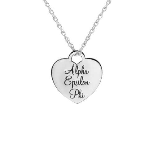 Personalized Classic Heart Greek Sorority Pendant 20x19mm