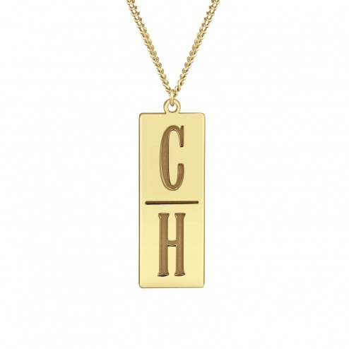 Yellow Men's 2 Initial Stacked Monogram Personalized Jewelry