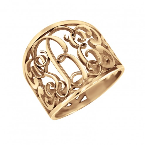 Traditional Decorated Monogram Ring 18mm