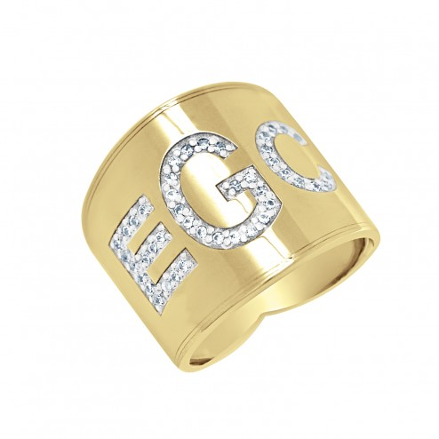 Cigar Band Block Font Diamond Monogram Ring 18mm
