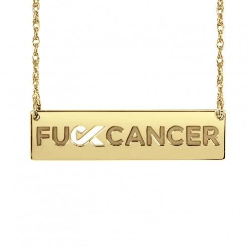 Yellow FCancer Ribbon Cutout Bar Necklace