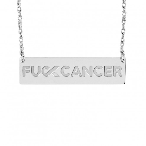 White FCancer Engraved Logo Bar Necklace