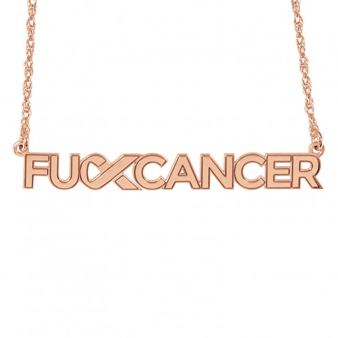 Rose FCancer Logo Name Necklace