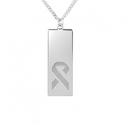 White FCancer Ribbon Logo Dog Tag