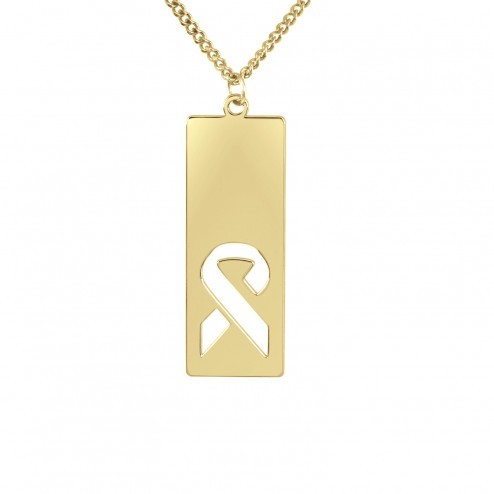 Yellow FCancer Ribbon Logo Cutout Dog Tag
