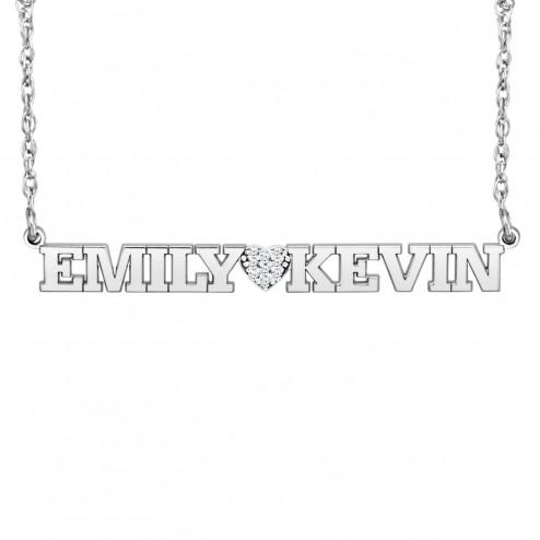 Diamond Heart Couples Necklace (4.7x44mm)