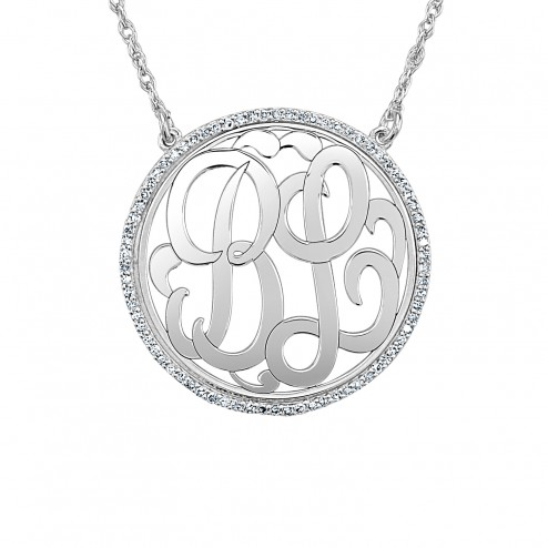 White Diamond Halo Classic Monogram Necklace Personalized Jewelry
