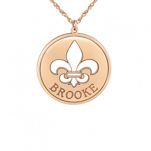 Rose Fleur de Lis Name Disc (25mm) Personalized Jewelry