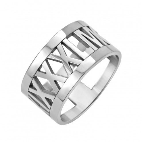 White Roman Numeral Ring (10mm) Personalized Jewelry