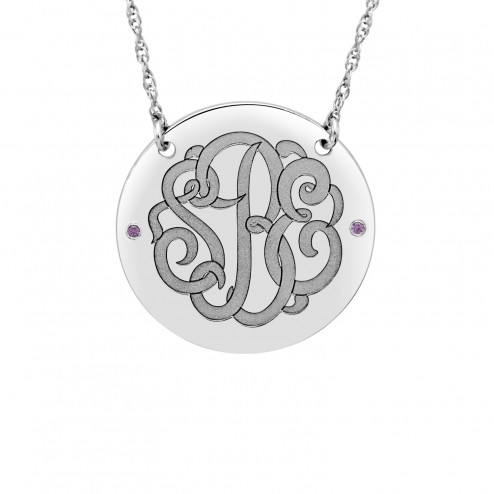 White Birthstone Classic Script Monogram Necklace (28mm) Personalized Jewelry