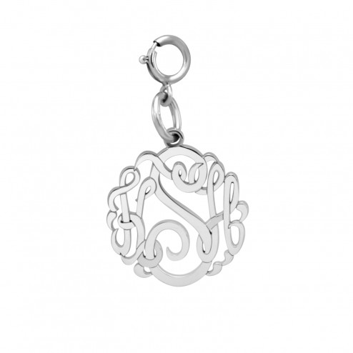 White 2 or 3 Initials Script Monogram Spring Ring Clasp Charm (15mm) | Personalized Jewelry