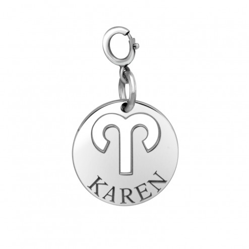 White Zodiac Disc wtih Name Spring Ring Clasp Charm (15mm) | Personalized Jewelry