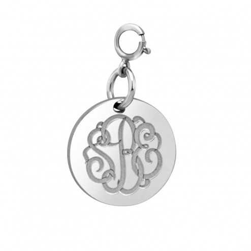 White 2 or 3 Initials Classic Script Monogram Spring Ring Clasp Charm (15mm) Personalized Jewelry