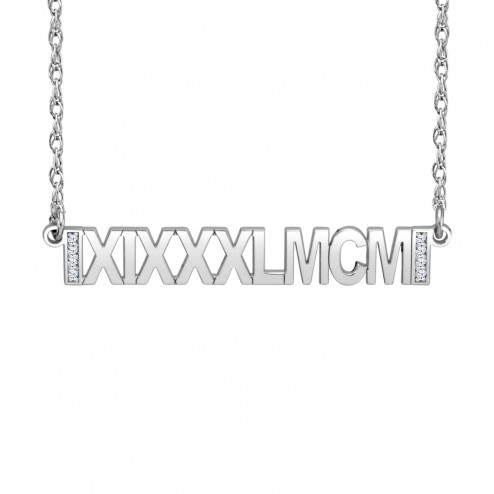 White Diamond Accent Roman Date Bar Necklace (6x38mm) Personalized Jewelry
