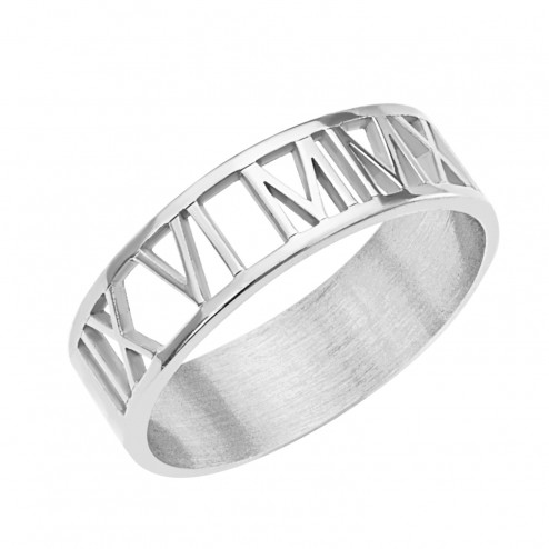 White Roman Numeral Cutout Ring Personalized Jewelry