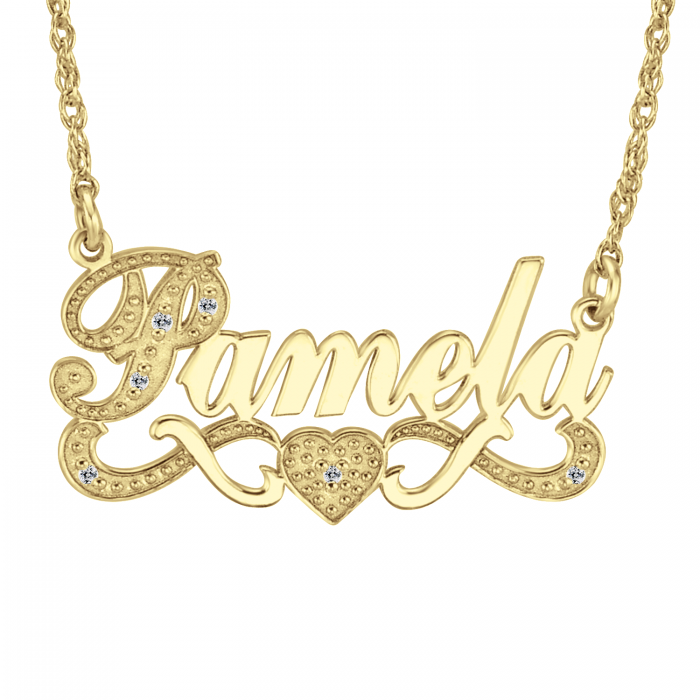 Name Necklaces. Allow your name to sparkle with a one-of-a-kind name necklace personalized with your unique name. Your name is a representation of you so why not wear it proudly? Choose a font you love, and create a custom nameplate necklace just as special as you!