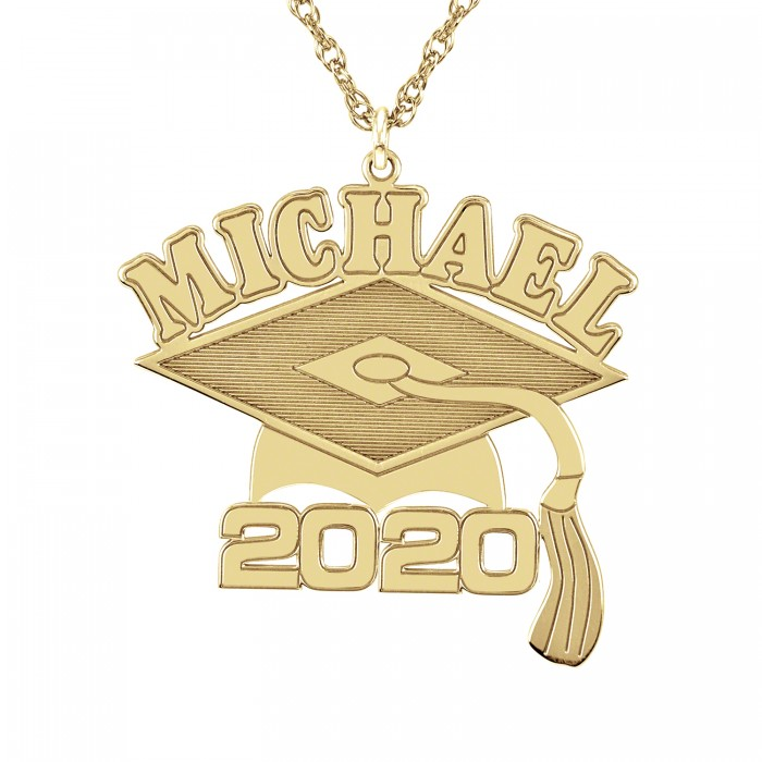graduation name date necklace 28x23mm personalized jewelry