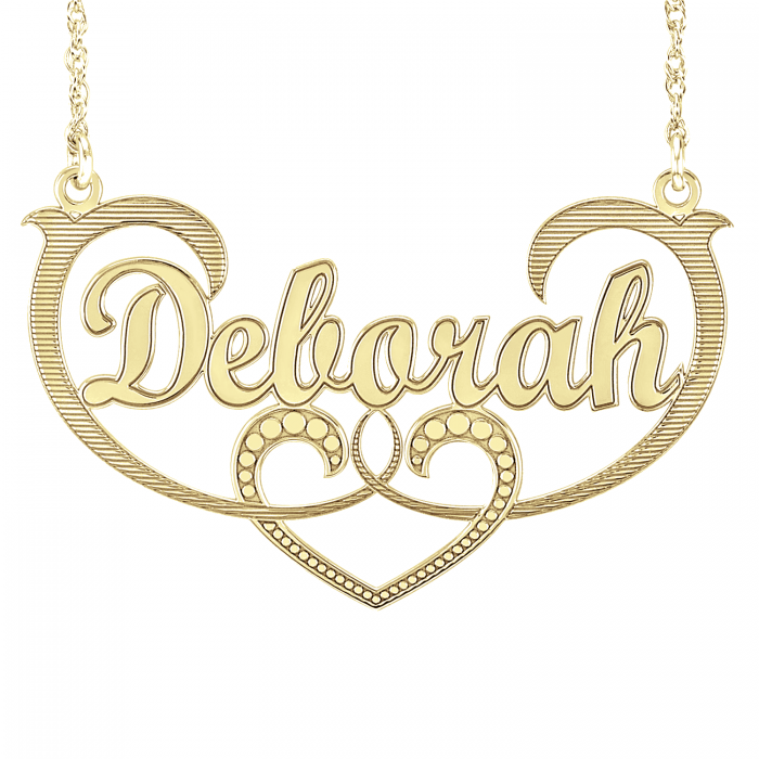 scrolling heart name plate personalized jewelry