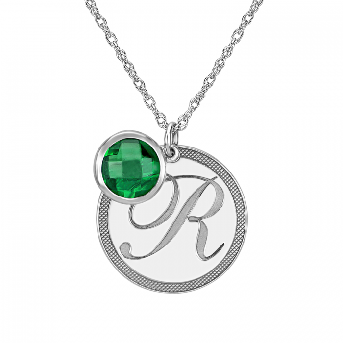 Initial pendant with birthstone accent initial birthstone pendant 22mm aloadofball Image collections