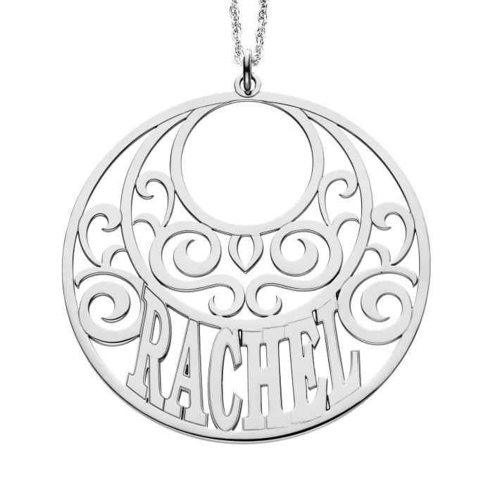 Round scroll name pendant 45mm personalized jewelry round scroll name pendant 45 mm personalized jewelry aloadofball Choice Image